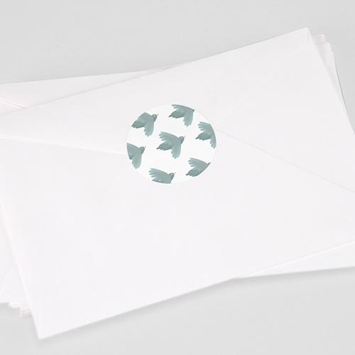 Etiquette Autocollante Baptême Oiseaux bleus, Sticker Enveloppe (lot de 15)