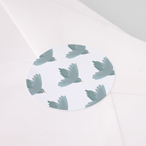 Etiquette Autocollante Baptême Oiseaux bleus, Sticker Enveloppe (lot de 15) pas cher