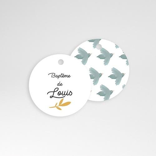 Étiquette Baptême Brin d'or et Oiseaux bleus, Ronde & Perforée, 4,5 cm pas cher