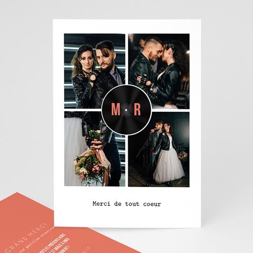 Carte Remerciement Mariage Disque Vinyl, 4 photos, Noir Corail