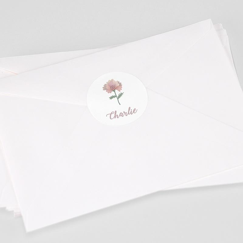 Etiquette Autocollante Naissance Pastel Poétique, Sticker Enveloppes