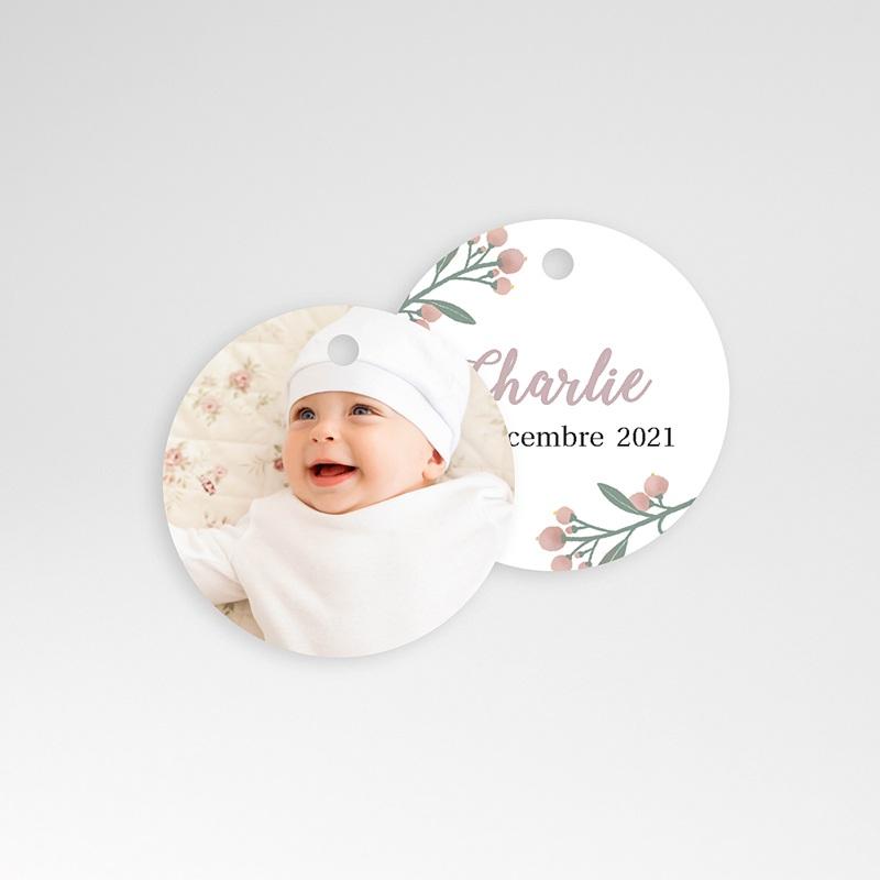 Etiquette Cadeau Naissance Pastel Poétique, Ronde & Perforée, 4,5 cm pas cher