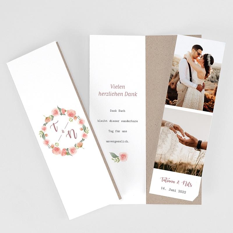 Carte Remerciement Mariage Champêtre Diadème Floral, Format marque-page, 2 Photos