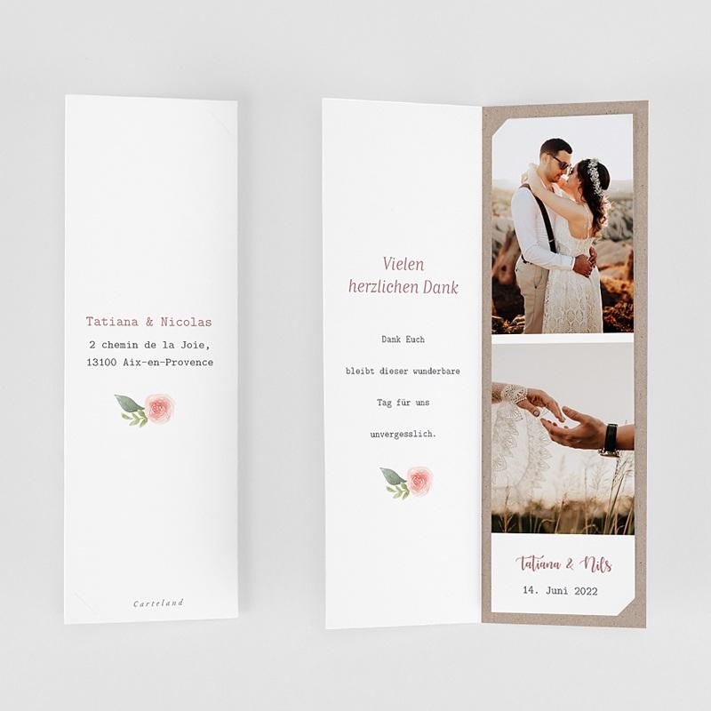 Carte Remerciement Mariage Champêtre Diadème Floral, Format marque-page, 2 Photos gratuit
