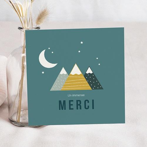 Carte Remerciement Naissance Garçon Montagnes Bleu Vert, 4 Photos