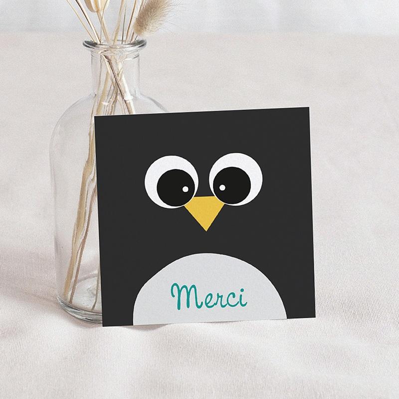Carte Remerciement Naissance Animaux Pingouin et Compagnie, 10 x 10