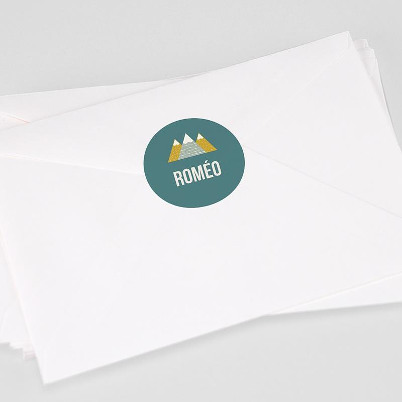 Etiquette Autocollante Naissance Montagnes, fond vert, Sticker