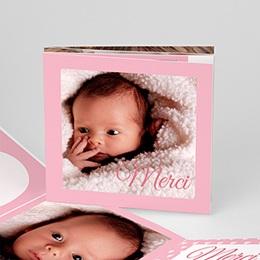 Carte remerciement naissance fille Ma Naissance - Rose