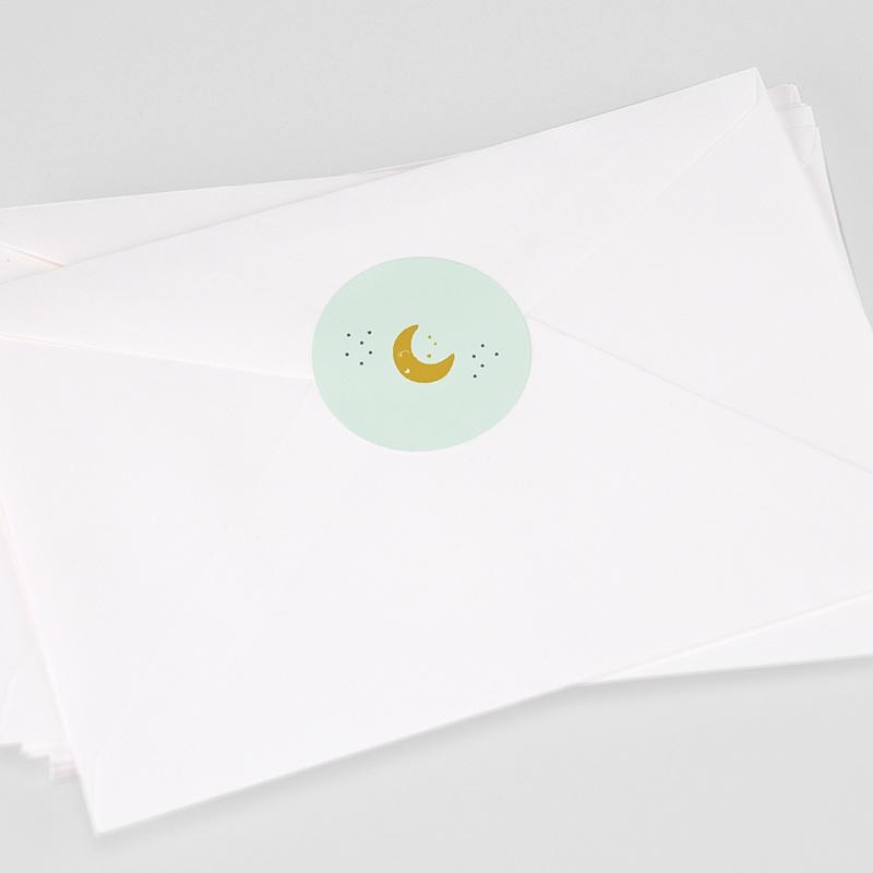 Etiquette Autocollante Naissance Au clair de lune, Sticker d'enveloppes