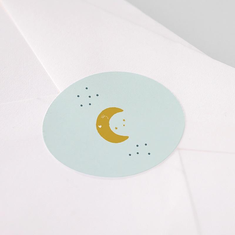 Etiquette Autocollante Naissance Au clair de lune, Sticker d'enveloppes pas cher