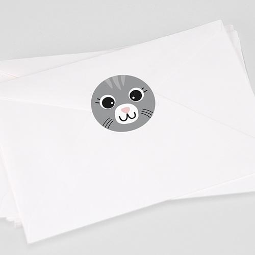 Etiquette Autocollante Naissance Chat gris et Compagnie, Sticker