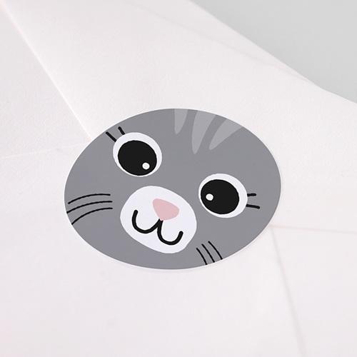 Etiquette Autocollante Naissance Chat gris et Compagnie, Sticker pas cher