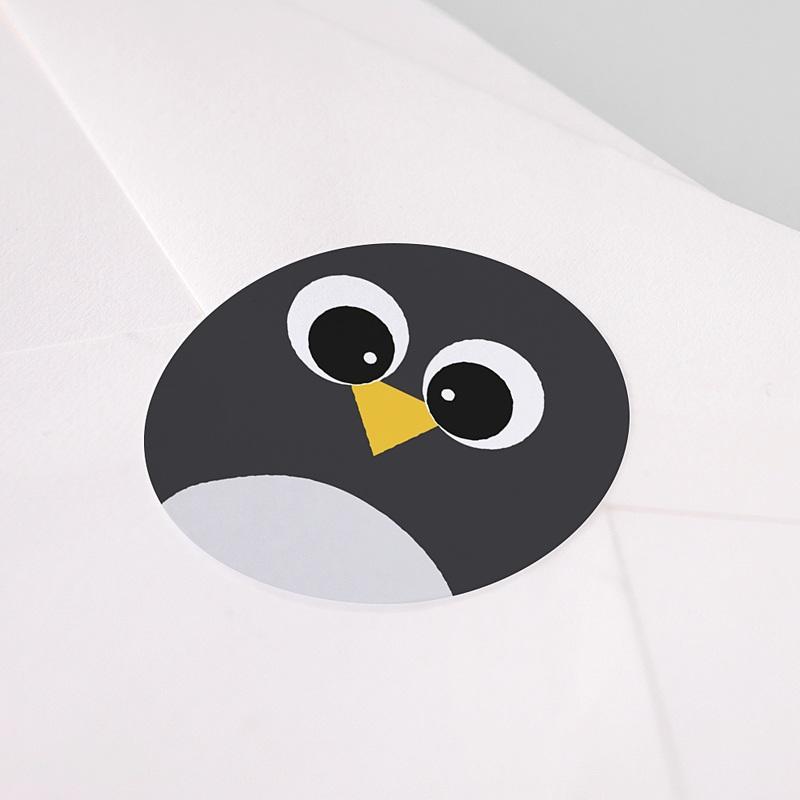 Etiquette Autocollante Naissance Pingouin et Compagnie, Sticker rond pas cher