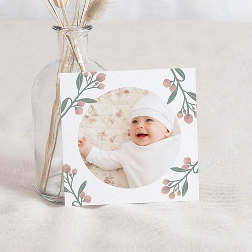 Carte Remerciement Naissance Fille Pastel Poétique, Photo et Fleurs - 10 x 10 cm