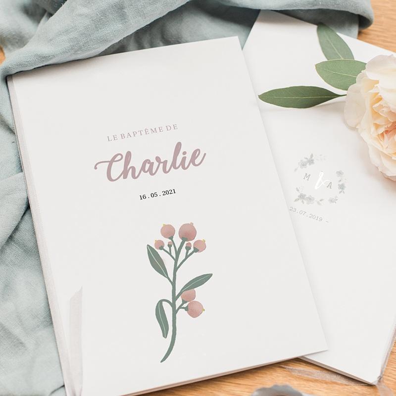 Livret Messe Baptême Pastel Poétique, Oiseau & fleurs, Couverture pas cher