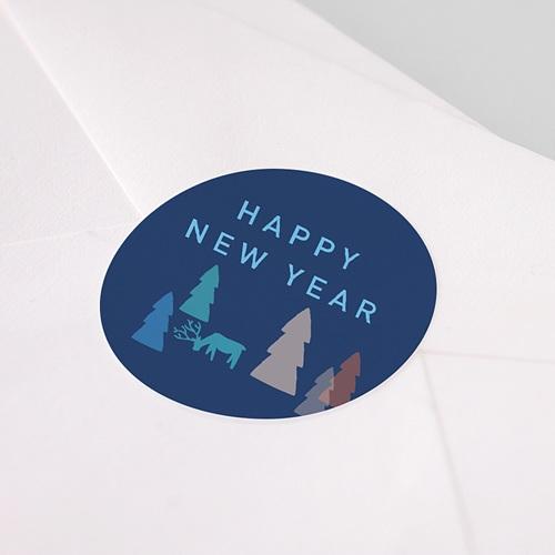 Etiquette Noël Sapins Colorés, Happy New Year, Sticker pas cher