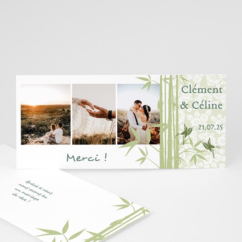 Remerciements Mariage Personnalisés Bambous et oiseaux
