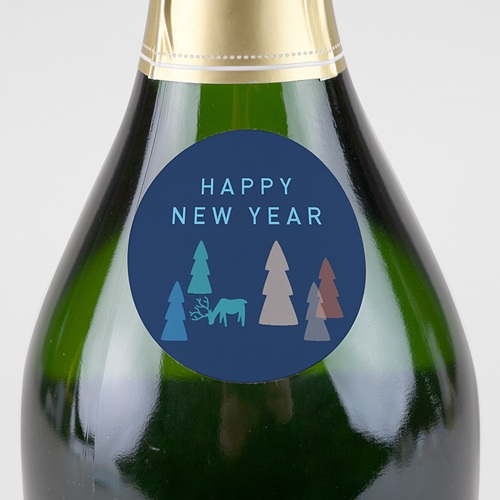 Etiquette Noël Sapins Colorés, Happy New Year, Sticker