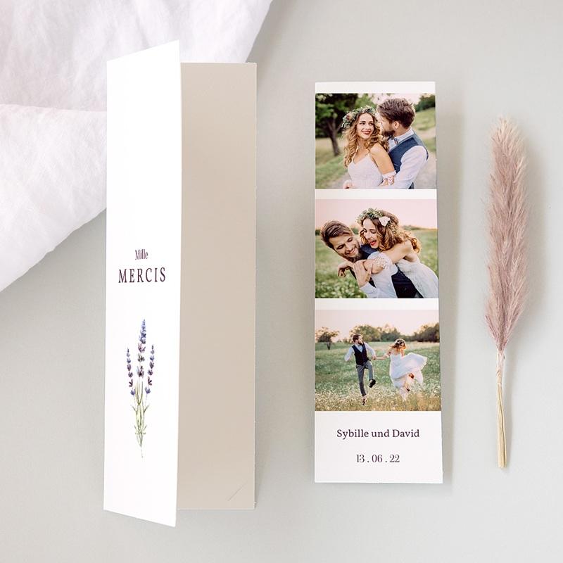 Carte Remerciement Mariage Champêtre Bouquet de Lavande, 2 en 1