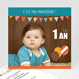 Carte invitation anniversaire garçon 1 an