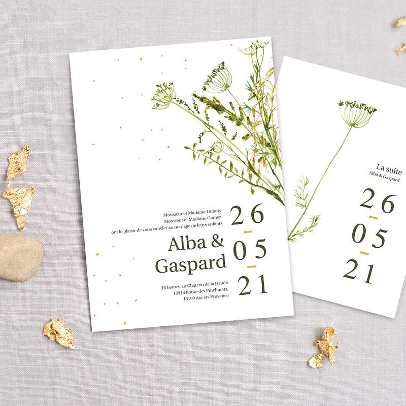 Faire-Part Mariage Champêtre Fleur de Carotte, Thème Champêtre, Trait doré