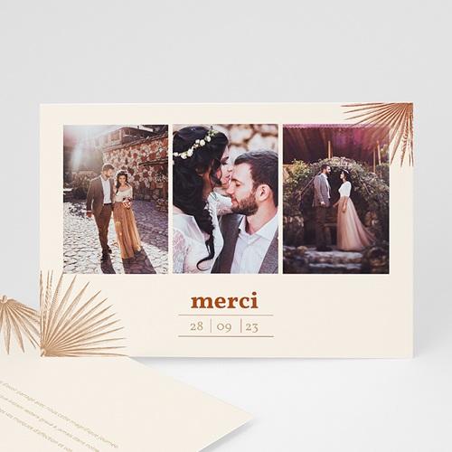 Carte Remerciement Mariage Boheme Palmes gravure, Bohème exotique, 3 Photos