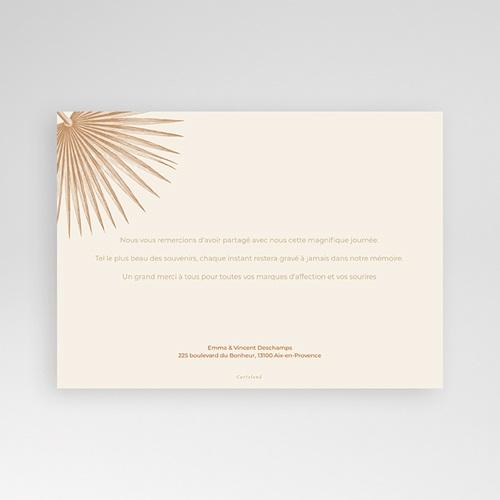 Carte Remerciement Mariage Boheme Palmes gravure, Bohème exotique, 3 Photos pas cher