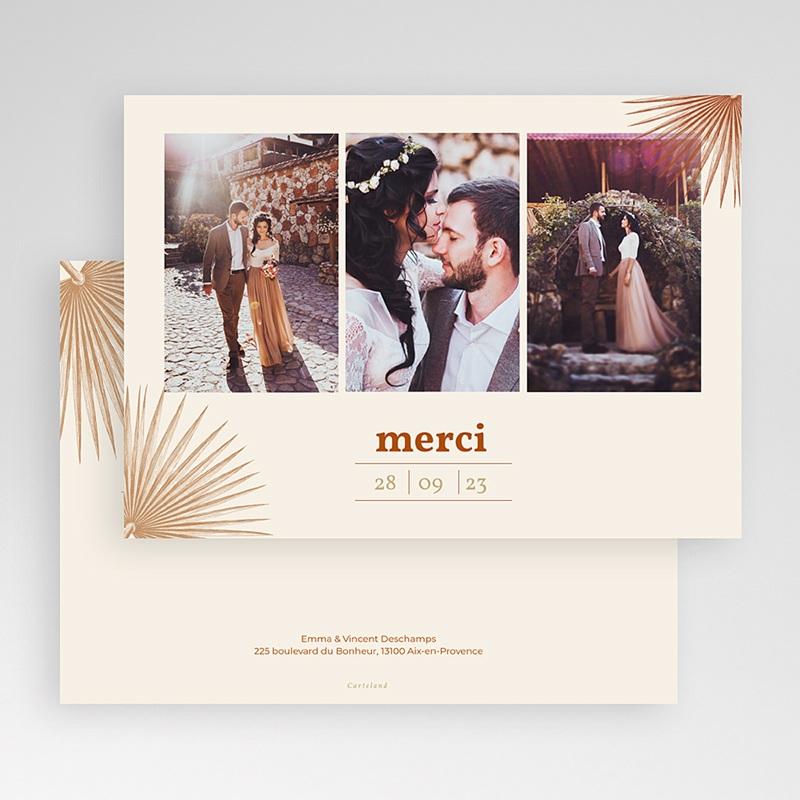 Carte Remerciement Mariage Boheme Palmes gravure, Bohème exotique, 3 Photos gratuit