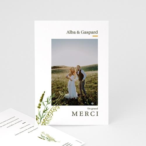 Carte Remerciement Mariage Champêtre Fleur de Carotte, Photo & Trait doré