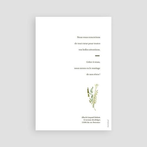 Carte Remerciement Mariage Champêtre Fleur de Carotte, Photo & Trait doré pas cher