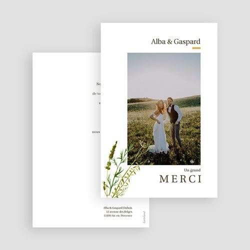 Carte Remerciement Mariage Champêtre Fleur de Carotte, Photo & Trait doré gratuit