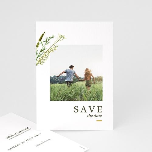 Save The Date Mariage Fleur de Carotte, Photo, Trait doré