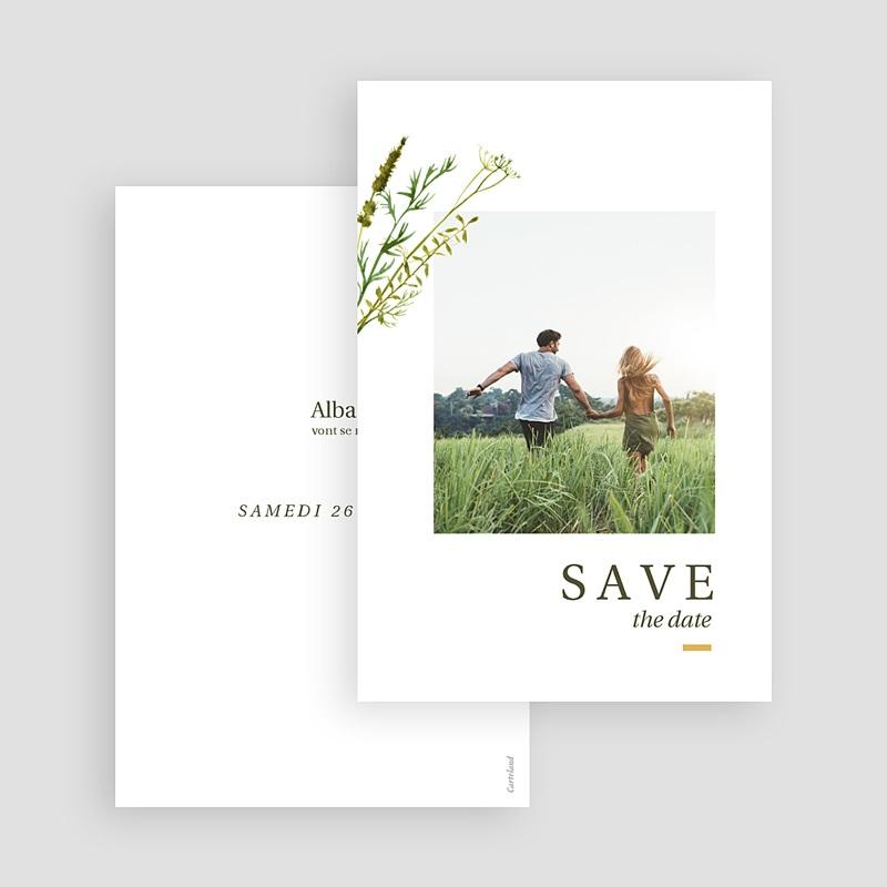 Save The Date Mariage Fleur de Carotte, Photo, Trait doré gratuit