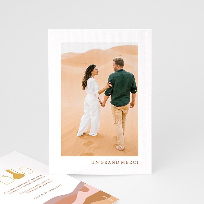 Carte Remerciement Mariage Voyage Vue du Riad, Dunes Ocres, Dorure & Photo
