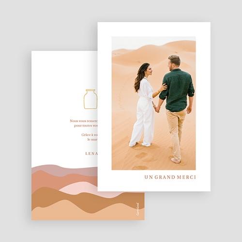 Carte Remerciement Mariage Voyage Vue du Riad, Dunes Ocres, Dorure & Photo gratuit