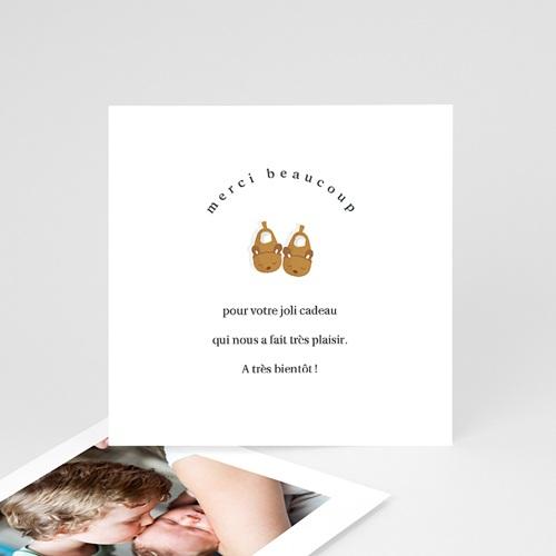 Carte Remerciement Naissance Frère et Soeur Chaussons bébé Fille & Photo
