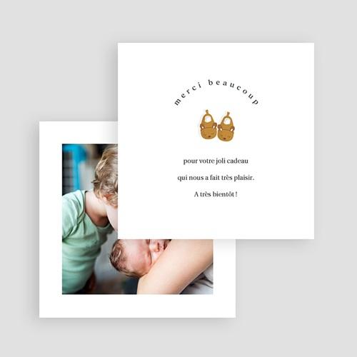 Carte Remerciement Naissance Frère et Soeur Chaussons bébé Fille & Photo gratuit