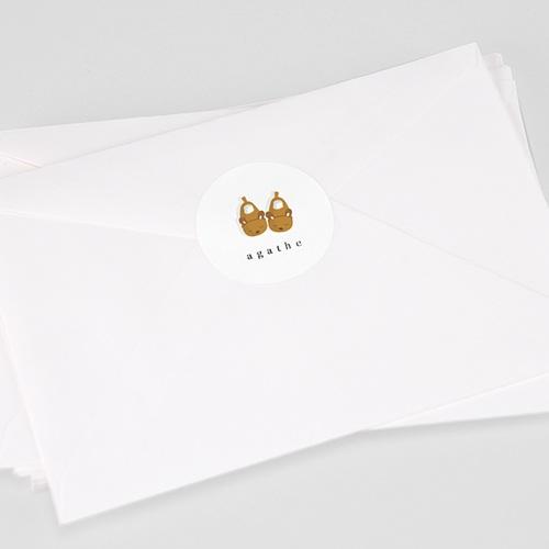 Etiquette Autocollante Naissance Chaussons Bébé fille, Sticker enveloppe