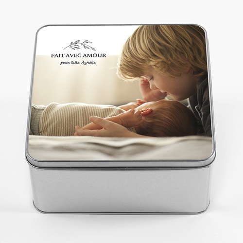 Boîte Personnalisée Photo Fait avec amour, 20.2 x 20.2 cm