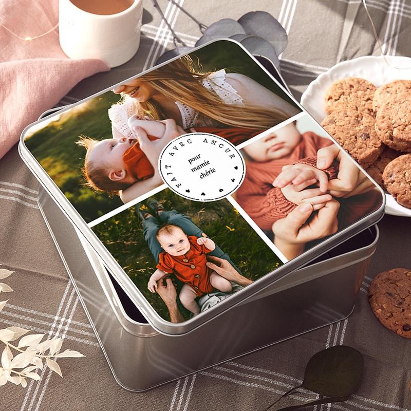 Boîte Personnalisée Photo pour mamie chérie, 20.2 x 20.2 cm
