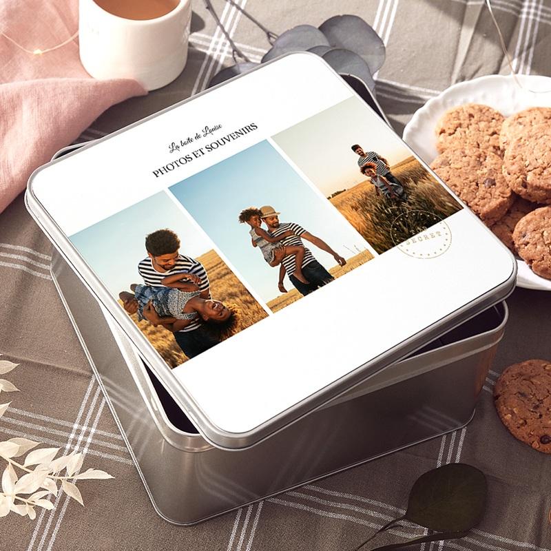 Boîte Personnalisée Photo Souvenirs de vacances, couvercle personnalisable, 20.2 x 20.2 cm