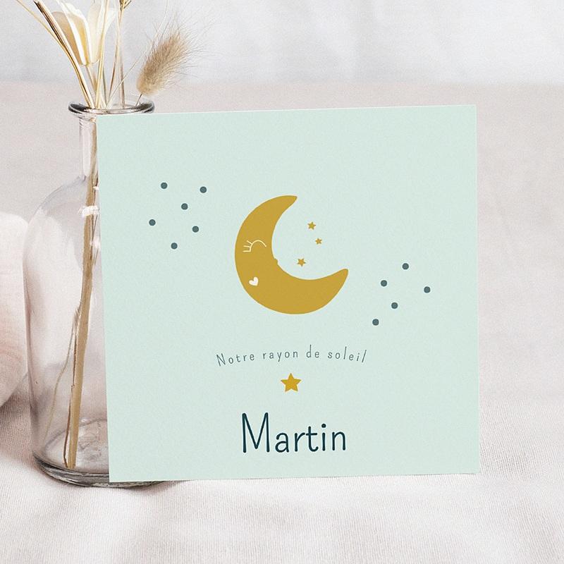 Faire-Part Naissance Etoile Au clair de lune et jolis pictos