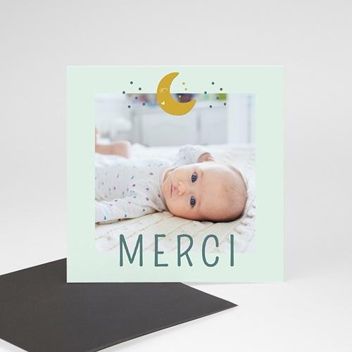 Carte Remerciement Naissance Au clair de lune, Magnet Photo