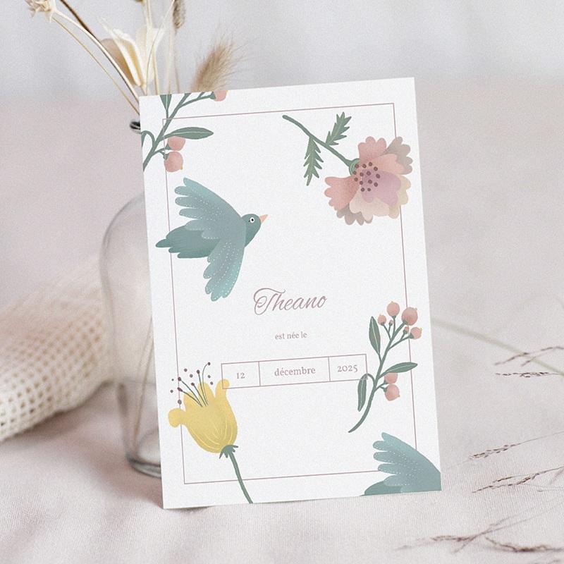 Faire-Part Naissance Fille Pastel Poétique, Oiseau & fleurs
