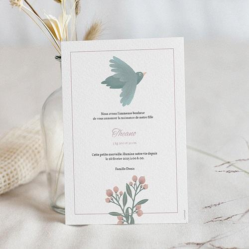 Faire-Part Naissance Fille Pastel Poétique, Oiseau & fleurs pas cher
