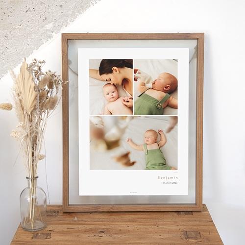 Affiches 3 photos Bébé, Nom & date de naissance, 30 X 40 cm