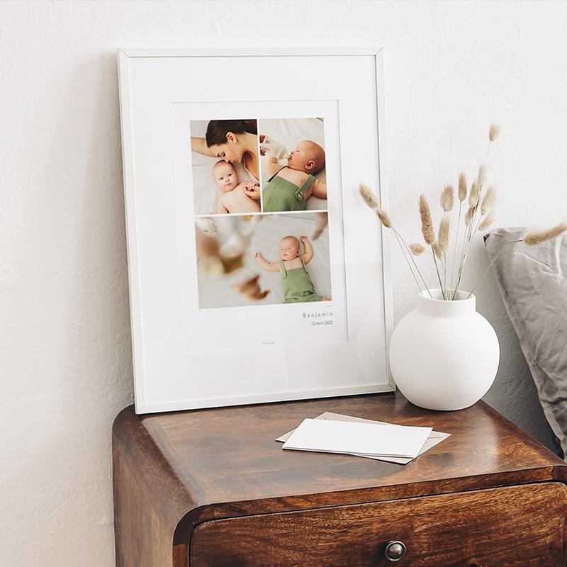 Affiches 3 photos Bébé, Nom & date de naissance, 30 X 40 cm gratuit