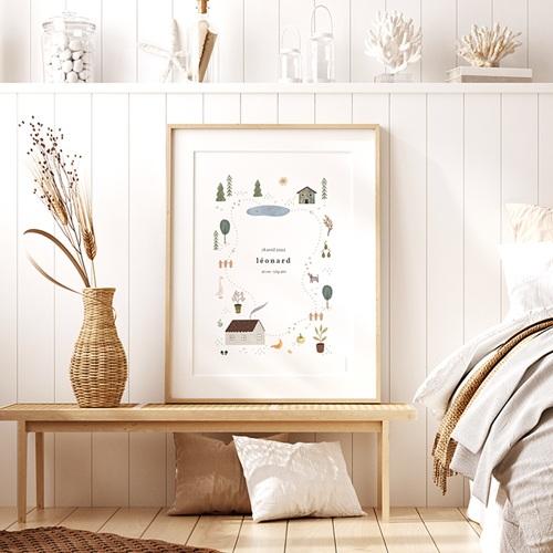 Affiches Maison du Bonheur, Déco Chambre, 30 X 40 cm pas cher