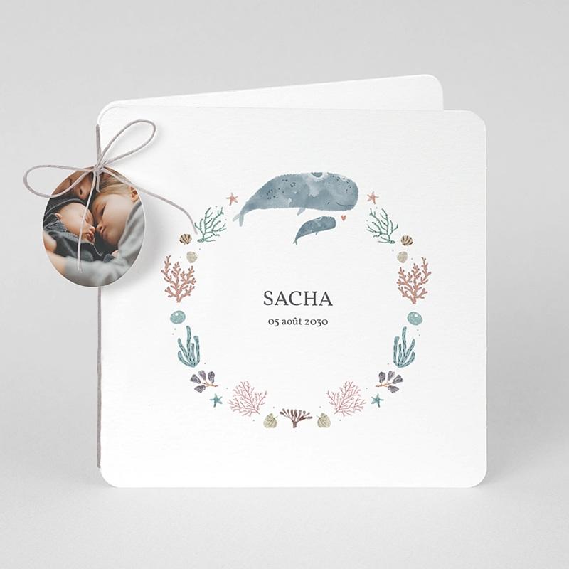Faire-Part Naissance Fille Danse de la mer, Baleineaux & coraux, 2 volets, bords arrondis, étiquette ronde