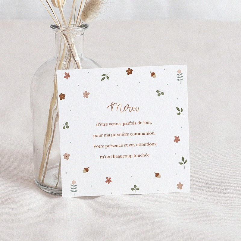 Carte Remerciement Communion Fille Cérémonie fleurie, 10 x 10 cm